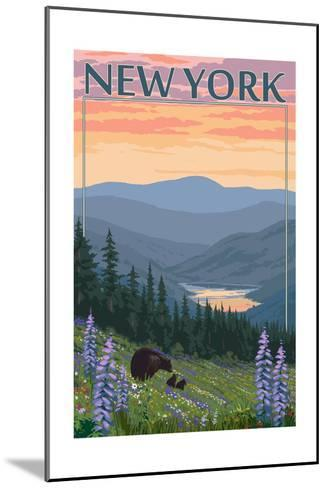 New York - Bear and Spring Flowers-Lantern Press-Mounted Art Print
