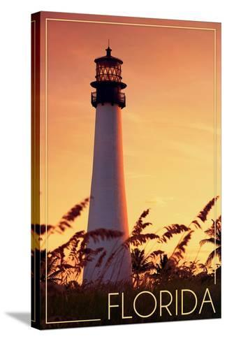 Florida - Lighthouse and Seagrass-Lantern Press-Stretched Canvas Print