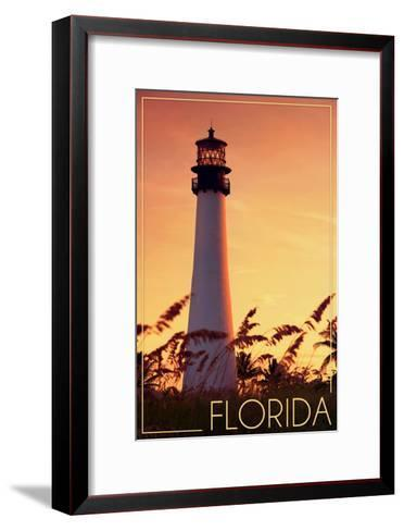 Florida - Lighthouse and Seagrass-Lantern Press-Framed Art Print