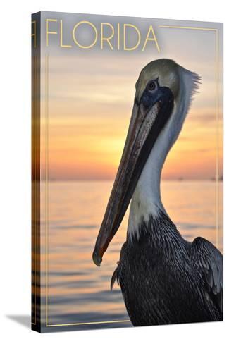 Florida - Pelican-Lantern Press-Stretched Canvas Print