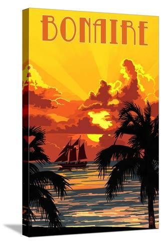 Bonaire, Dutch Caribbean - Sunset and Ship-Lantern Press-Stretched Canvas Print