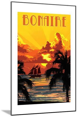 Bonaire, Dutch Caribbean - Sunset and Ship-Lantern Press-Mounted Art Print