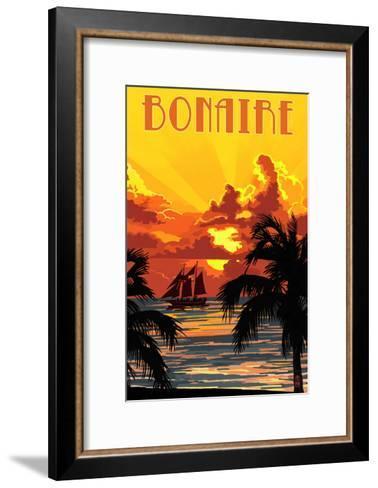 Bonaire, Dutch Caribbean - Sunset and Ship-Lantern Press-Framed Art Print