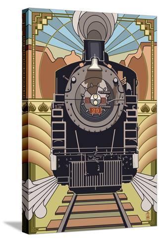 Steam Locomotive - Deco Style-Lantern Press-Stretched Canvas Print