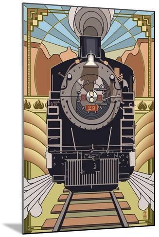 Steam Locomotive - Deco Style-Lantern Press-Mounted Art Print