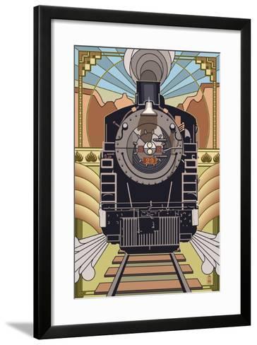 Steam Locomotive - Deco Style-Lantern Press-Framed Art Print