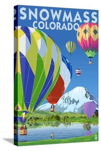 Snowmass, Colorado - Hot Air Balloons-Lantern Press-Stretched Canvas Print