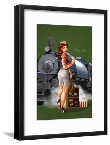 Pinup Girl Railroad Trip-Lantern Press-Framed Art Print