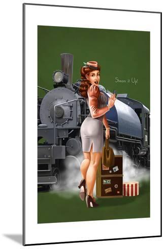 Pinup Girl Railroad Trip-Lantern Press-Mounted Art Print