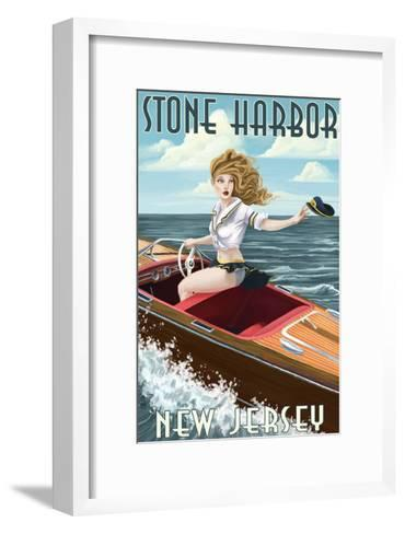 Stone Harbor, New Jersey - Boating Pinup-Lantern Press-Framed Art Print