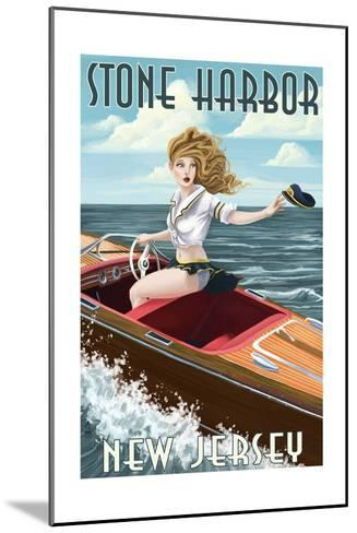 Stone Harbor, New Jersey - Boating Pinup-Lantern Press-Mounted Art Print