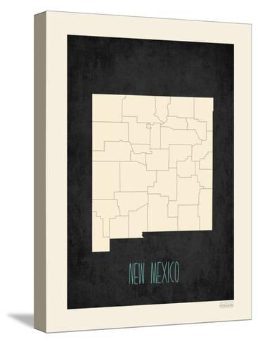 Black Map New Mexico--Stretched Canvas Print