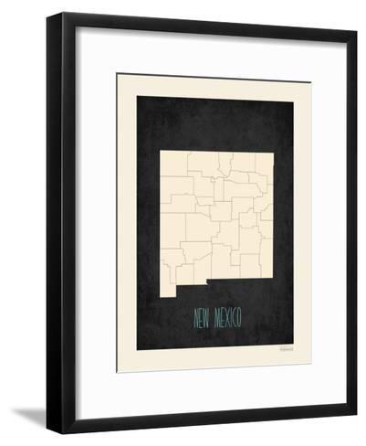 Black Map New Mexico--Framed Art Print