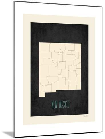 Black Map New Mexico--Mounted Art Print