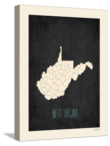 Black Map West Virginia--Stretched Canvas Print