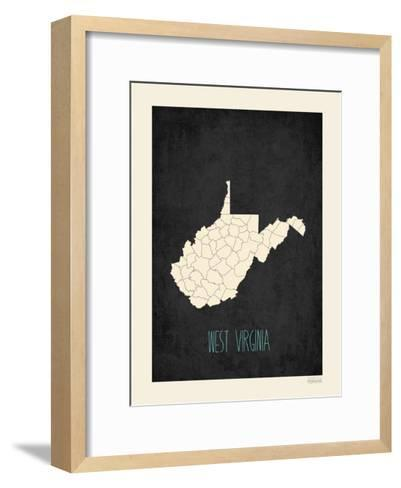 Black Map West Virginia--Framed Art Print