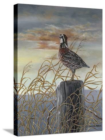 Quail on a Post-Carolyn Mock-Stretched Canvas Print
