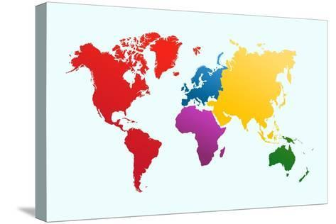 Colorful World Map-cienpies-Stretched Canvas Print