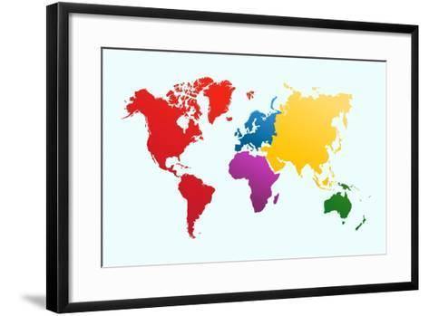 Colorful World Map-cienpies-Framed Art Print