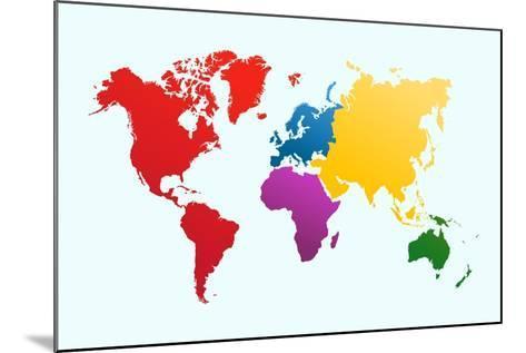Colorful World Map-cienpies-Mounted Art Print