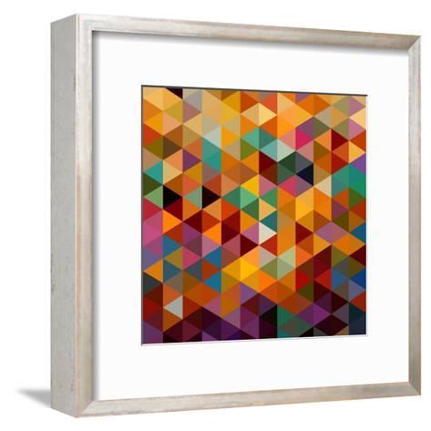 Geometric Triangle Pattern-cienpies-Framed Art Print
