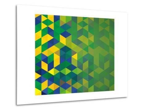 Abstract Geometric Brazil Flag-cienpies-Metal Print