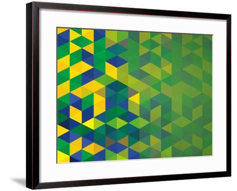 Abstract Geometric Brazil Flag-cienpies-Framed Art Print