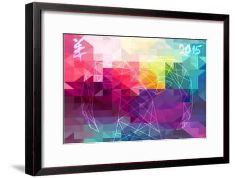 Abstract Year of the Goat Illustration - 2015-cienpies-Framed Art Print