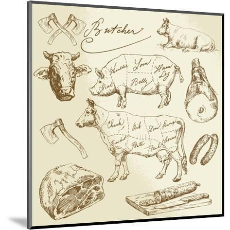 Pork and Beef Cuts - Hand Drawn Set-canicula-Mounted Art Print