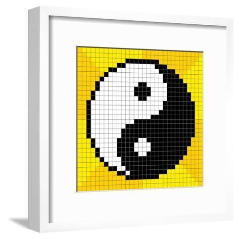 8-Bit Pixel-Art Yin Yang Symbol-wongstock-Framed Art Print