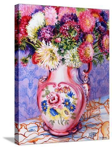 Asters in a Pink Floral Victorian Jug, 2002-Joan Thewsey-Stretched Canvas Print