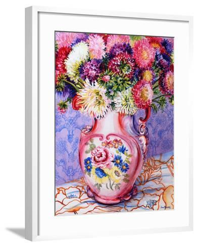 Asters in a Pink Floral Victorian Jug, 2002-Joan Thewsey-Framed Art Print