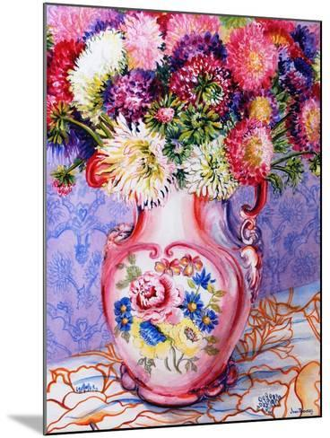 Asters in a Pink Floral Victorian Jug, 2002-Joan Thewsey-Mounted Giclee Print