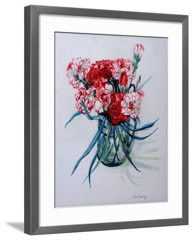 Pink and Red Cottage Pinks, 2004-Joan Thewsey-Framed Art Print