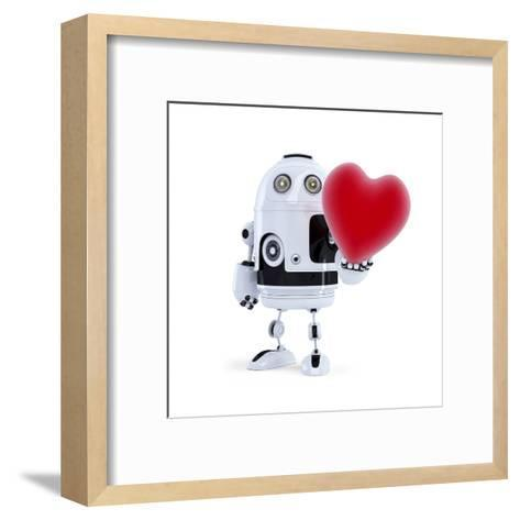 Cute Robot Holding A Big Red Heart. Isolated-Kirill_M-Framed Art Print