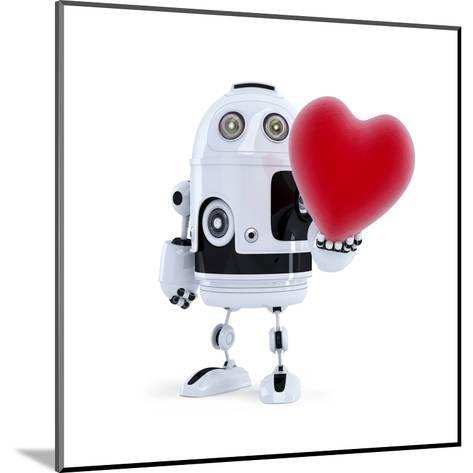Cute Robot Holding A Big Red Heart. Isolated-Kirill_M-Mounted Art Print