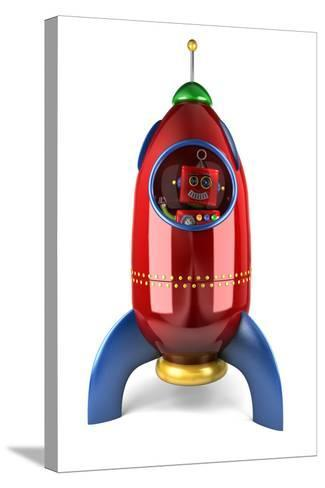 Happy Vintage Toy Robot Waving from inside a Toy Rocket over White Background-badboo-Stretched Canvas Print