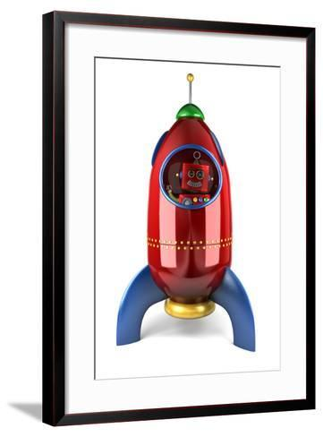 Happy Vintage Toy Robot Waving from inside a Toy Rocket over White Background-badboo-Framed Art Print