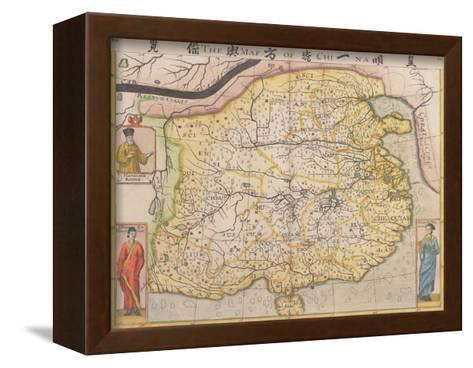 Map of China with Inset Portraits of Matteo Ricci and Two Chinese Costumed Figures, circa 1625-26-Samuel Purchas-Framed Canvas Print