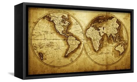 Antique Map Of The World (Circa 1711 Year)-Oleg Golovnev-Framed Canvas Print