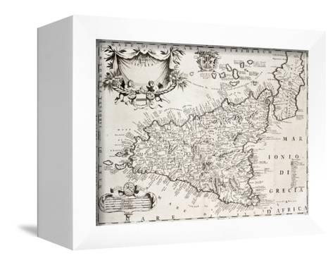 An Old Map Of Sicily, The Original Was Created By V-marzolino-Framed Canvas Print
