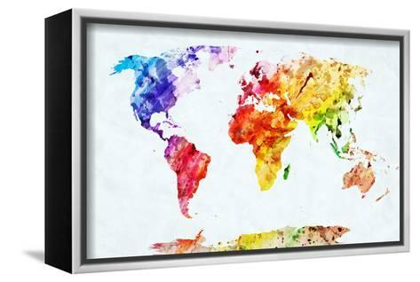 Watercolor World Map. Colorful Paint on White Paper. HD Quality-Michal Bednarek-Framed Canvas Print