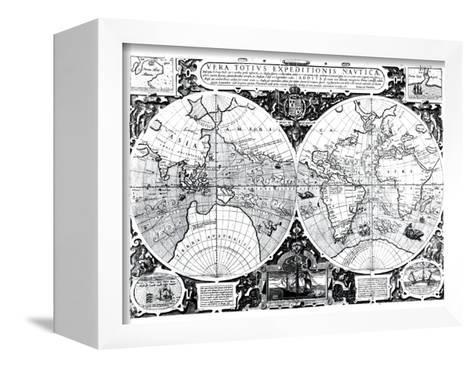 World Map; Vera Totius Expeditionis Nauticae--Framed Canvas Print