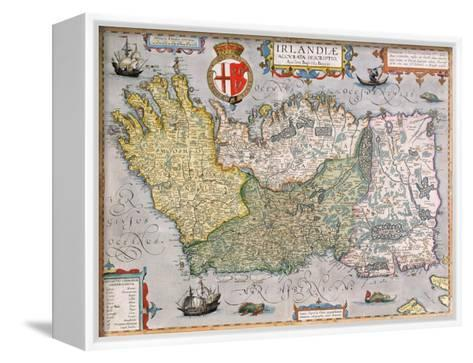 Map of Ireland--Framed Canvas Print