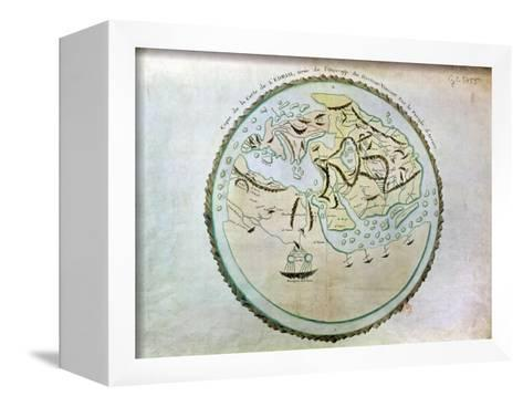 Map of the World, Copied by Doctor Vincent for His Book on the Journey of Arrian (circa 95-180)-Abu Abdallah Muhammad Al-Idrisi-Framed Canvas Print