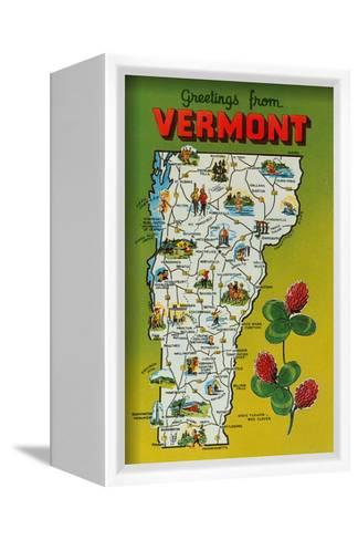 Map of Vermont--Framed Canvas Print