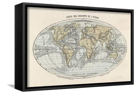 World Map of the Ocean Currents--Framed Canvas Print