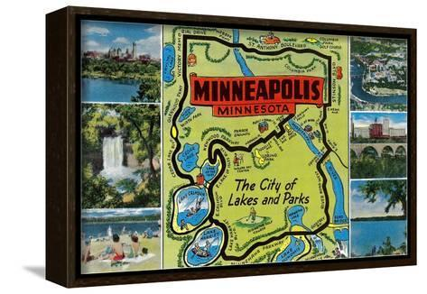 Map and Scenes of Minneapolis, Minnesota--Framed Canvas Print