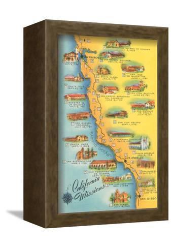 Map of the Missions, California--Framed Canvas Print
