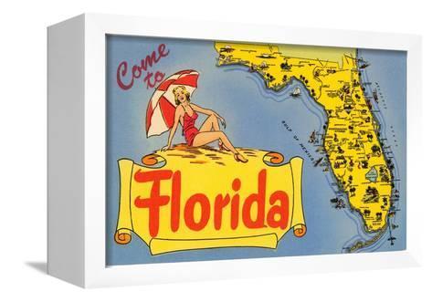 Map of Florida--Framed Canvas Print